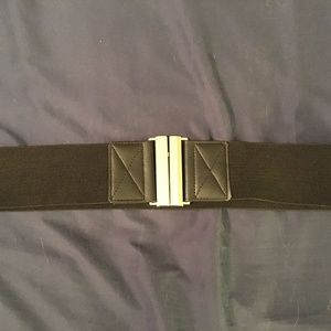 Black Stretch Belt with Silver Clasp